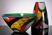Bowles and vases Aztec from the set Libera 2000, Crystalex Nový Bor, hand painted